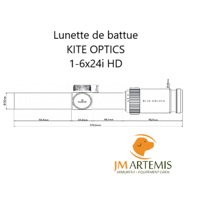 Dimensions lunette de battue KITE OPTICS 1-6x24i HD génération 2